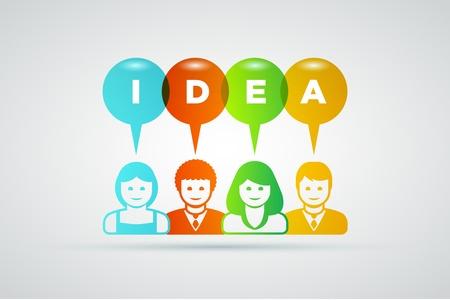 teamwork and ideas concept illustration  Vector
