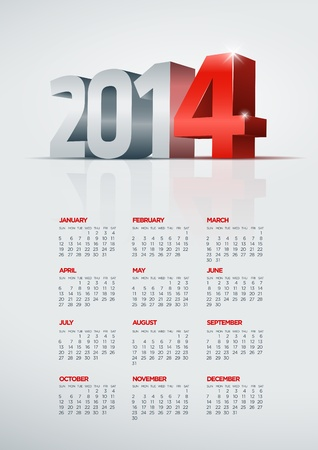 Vector 2014 year calendar  Elements are layered separately in vector file  Easy editable  Stock Vector - 21858240