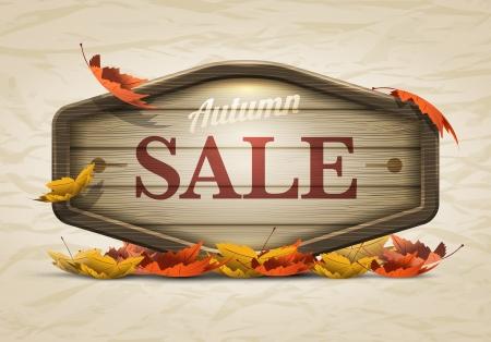 가을 판매 나무 간판 요소의 벡터 현실적인 그림 벡터 파일에서 개별적으로 적층