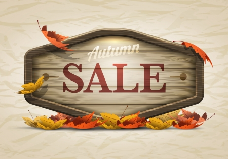 Vector realistic illustration of autumn sale wooden signboard  Elements are layered separately in vector file