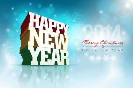 happy new year text: Vector 3d Happy New Year design template  Elements are layered separately in vector file