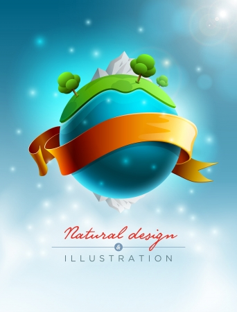 abstract globe: Green world nature concept vector illustration  Elements are layered separately in vector file