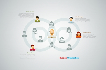 organization: Corporate organization chart with business people icons  Vector illustration