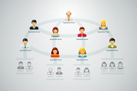 jerarquia: Corporate organigrama con la gente de negocios iconos ilustración vectorial