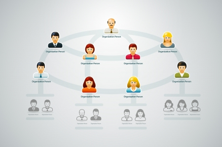 Corporate organization chart with business people icons  Vector illustration