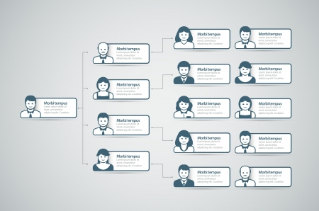 Corporate organigrama con la gente de negocios iconos ilustración vectorial Ilustración de vector