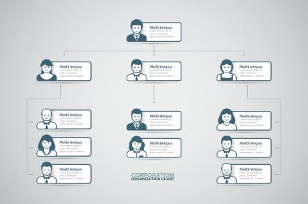 Corporate organigrama con la gente de negocios iconos ilustración vectorial