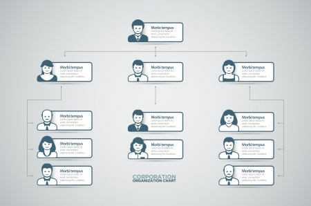 a structure: Corporate organization chart with business people icons  Vector illustration