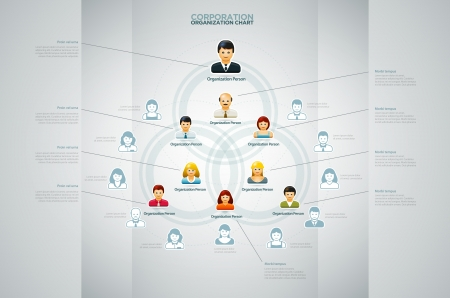 color chart: Corporate organization chart with business people icons  Vector illustration