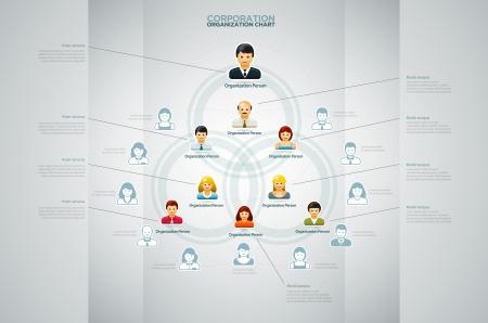 tree diagram: Organigramma aziendale con biglietto da persone Icone Vector illustration