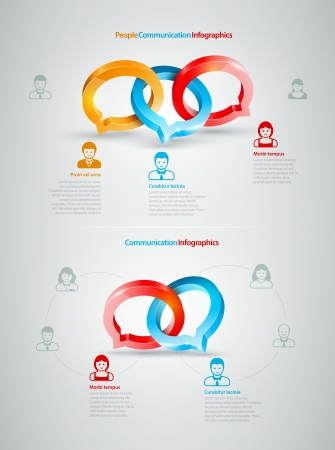 conspire: Vector speech rings, business people icons symbol illustration  Conversation Infographics Illustration