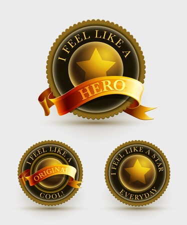 Gold and black badge set with ribbon   Stock Vector - 22025083