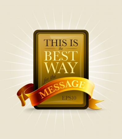 Gold and black message board with ribbon  Vector