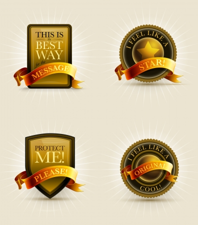 Gold and black badge and banner set with ribbon   Stock Vector - 22025084