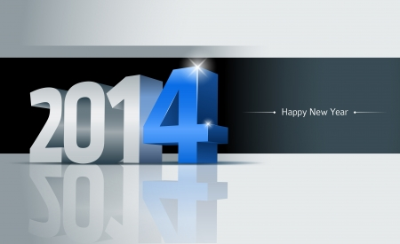 3D 2014 Happy New Year greeting card
