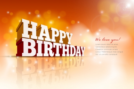 birthday party: Vector 3d Happy Birthday message text