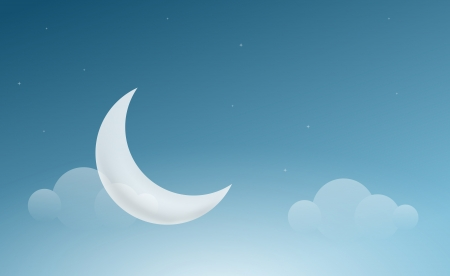 Vector night sky landscape with crescent moon   Vector