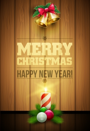 Vector christmas objects and message on wooden background  Vector