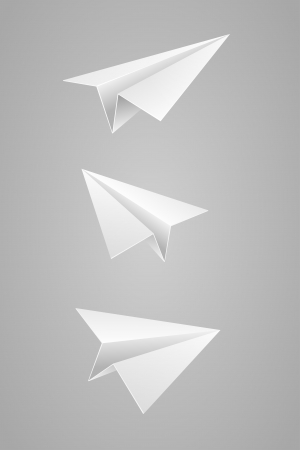 toy plane: Vector illustration set of white paper airplane