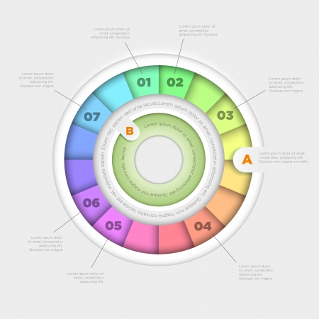 chart vector: Vector wheel pie chart infographic design template  Illustration