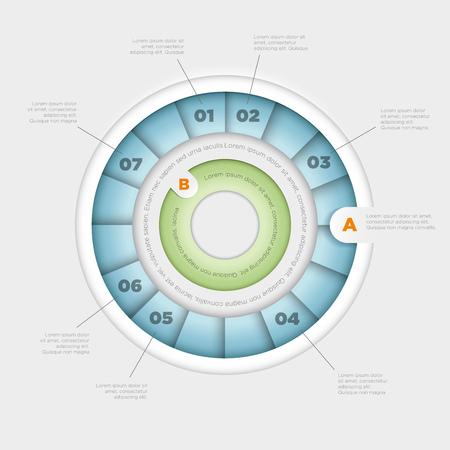 arrow circle diagram: Vector wheel pie chart infographic design template  Illustration