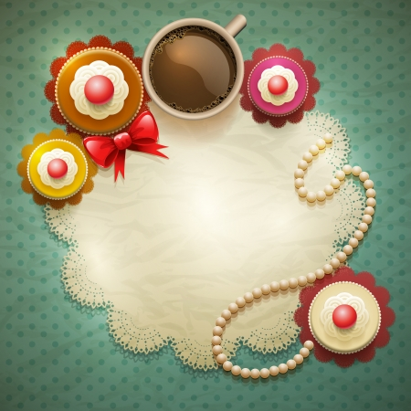 Vector cup of coffee and cakes on lace paper background  Vector