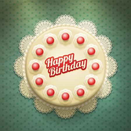 Vector grote cake met slagroom en kersen Stock Illustratie