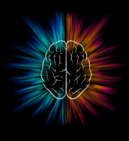 the left: Vector brain and explosion on black background   Illustration