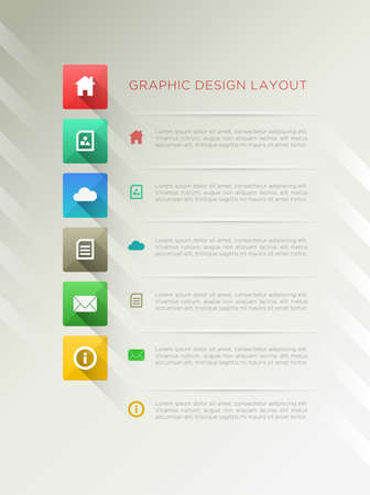 Page design layout with flat long shadow icon  Vector
