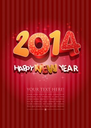Happy new year 2014! New year design template.  Illustration