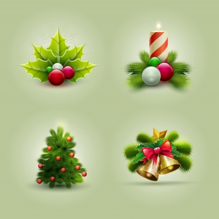 Vector illustration of Christmas icon set.  Vector