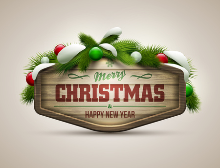 wooden board: Vector realistic illustration of wooden christmas message board.  Illustration