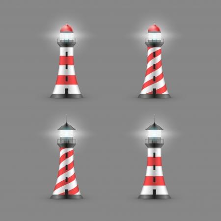 ベクトルの灯台の図。アイコンを設定します。