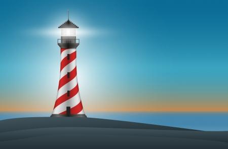 lighthouse at night: Vector faro en la noche ilustraci�n. Los elementos se colocan en capas por separado en archivo vectorial. Malla utilizada.