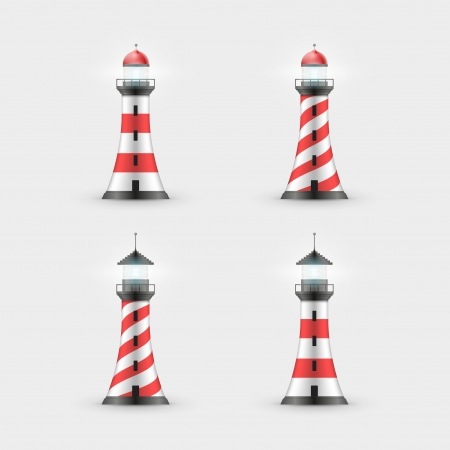 Vector lighthouse illustration. Icon set. Vector