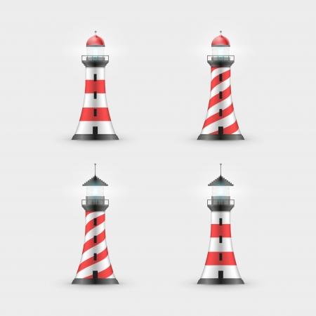 searchlight: Vector lighthouse illustration. Icon set. Illustration