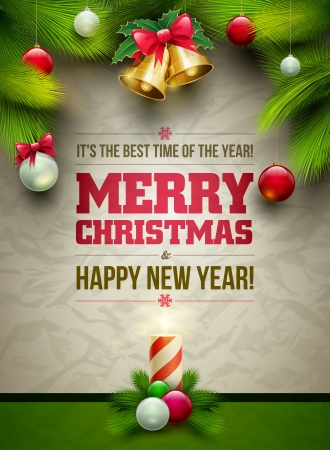 xmas background: Vector Christmas Messagez and objects on wrinkled paper background. Elements are layered separately in vector file.