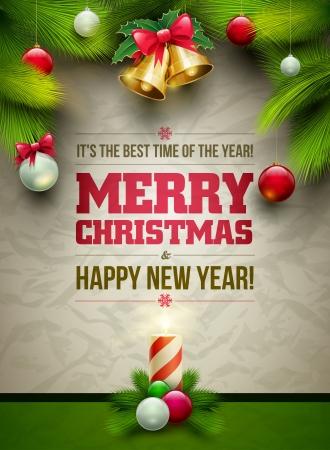 weihnachten zweig: Vector Christmas Messagez und Objekten auf zerknittertes Papier Hintergrund. Elemente werden getrennt in Vektordatei geschichtet.