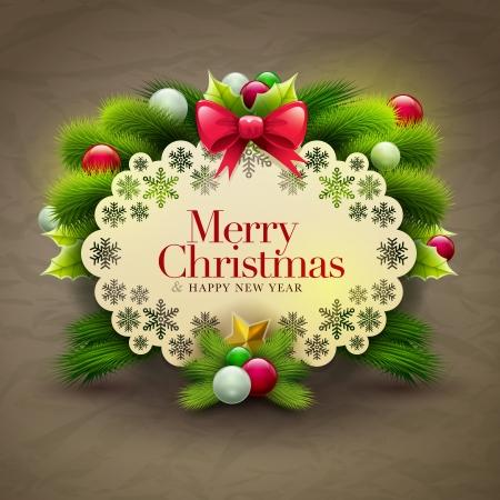 Uitnodiging van Kerstmis bericht kaart met ornamenten. Vector ontwerp sjabloon. Stock Illustratie