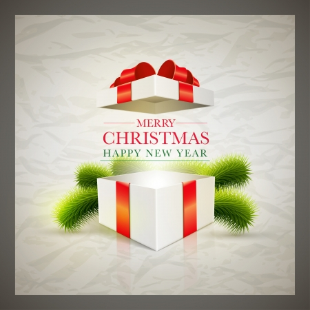 Vector retro Christmas card design template with wrinkled paper background  Elements are layered separately in vector file  Illustration