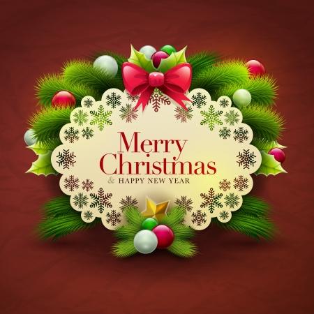 ornaments vector: Cartolina di Natale messaggio di invito con ornamenti vettore modello di progettazione