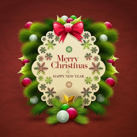 Uitnodiging van Kerstmis bericht kaart met ornamenten Vector design template Stock Illustratie