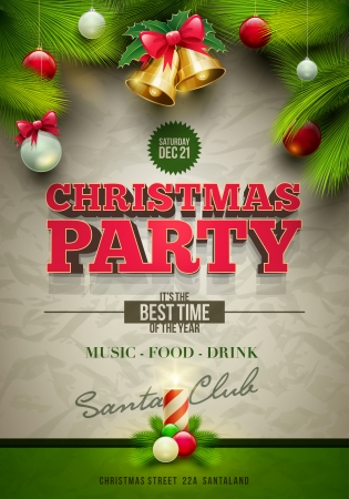 celebration background: Vector Christmas party poster design template  Elements are layered separately in vector file