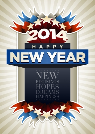 2014 New Year Poster Design Template  Elements are layered separately in vector file  Stock Vector - 24231142