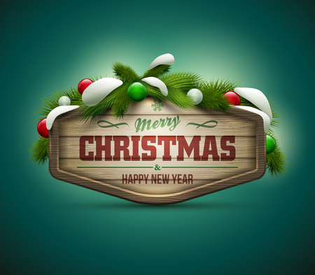 Vector realistic illustration of wooden christmas message board  Elements are layered separately in vector file  Easy editable  Illustration