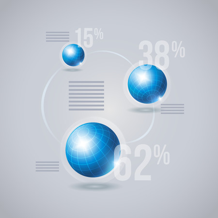 longitude: Vector infographic template with blue globes. Elements are layered separately in vector file.