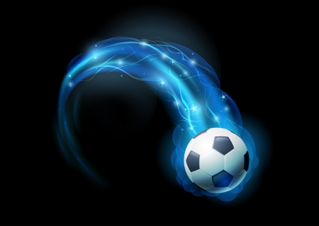 Soccer ball in blue flames and lights against black background  Vector illustration