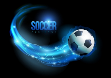Soccer ball in flames and lights against black background  Vector illustration  Vector