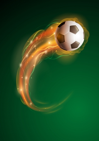 Soccer ball in flames and lights against green black background  Vector illustration  Vector