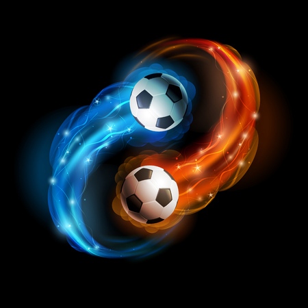 Soccer balls in flames and lights against black background  Vector illustration  Vectores